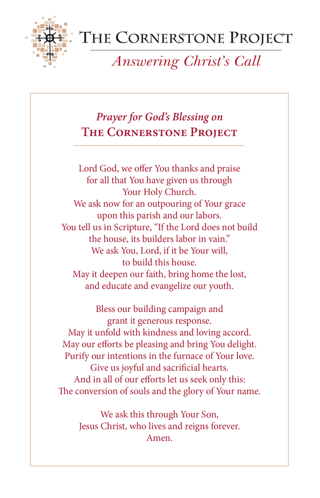 St. Charles Capital Campaign Prayer - Cornerstone Project